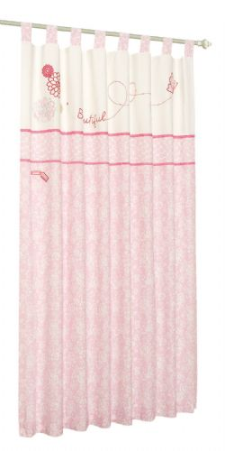 'IZZIWOTNOT' FOREVER FRIENDS PINK COLOUR PAIR OF TAB TOP CURTAINS